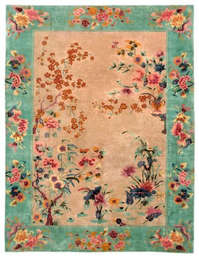 AMAZING-ANTIQUE-ART-DECO-CHINESE-NICHOLS-HIGH-QUALITY-RUG-9-x-12-CIRCA-1920