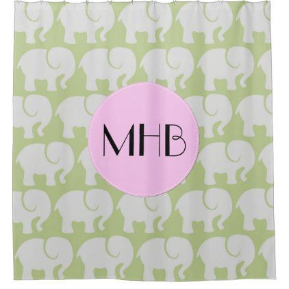 Monogram - Troop Of Elephants - Gray Green Pink Shower Curtain - monogram gifts unique custom diy personalize