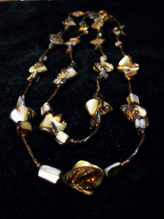 VERY Long Brown Mother of Pearl Necklace by Dare2beUNIQUE