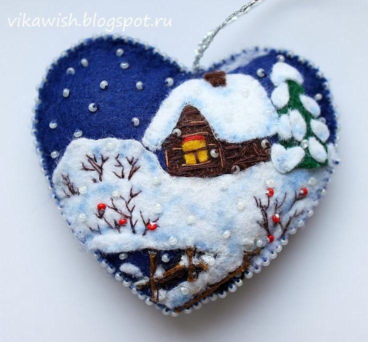 Викино вышивальное счастье: Сердечко из фетра с зимним пейзажем
