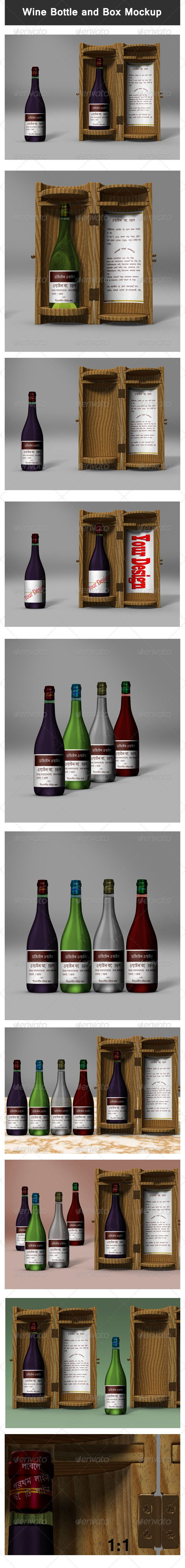 Wine Bottle and Box Mockup — Photoshop PSD #bottle #box • Available here → https://graphicriver.net/item/wine-bottle-and-box-mockup/3280310?ref=pxcr