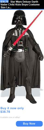 Kids Costumes: Star Wars Deluxe Darth Vader Child Kids Boys Costume Size Large 12-14 Halloween BUY IT NOW ONLY: $38.78