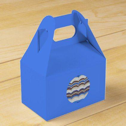 Round Blue Mosaic Gable Favor Box - craft supplies diy custom design supply special