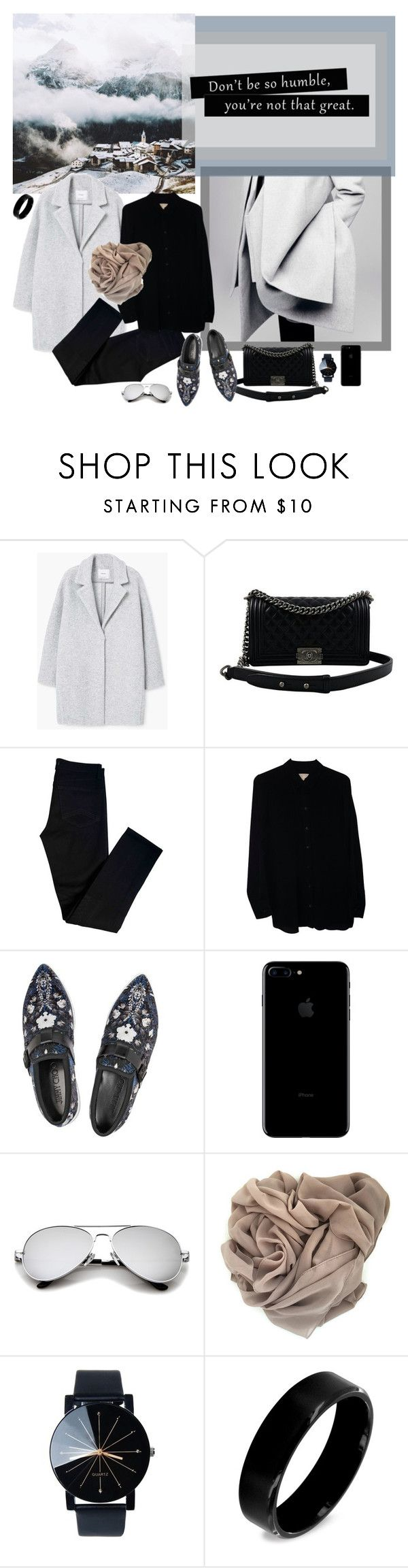 """""""you're not that great."""" by mariettamyan ❤ liked on Polyvore featuring MANGO, Chanel, J Brand, Michael Kors, Jimmy Choo and West Coast Jewelry"""