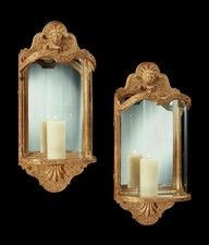 A PAIR OF QUEEN ANNE STYLE GILT GESSO WALL LANTERNS