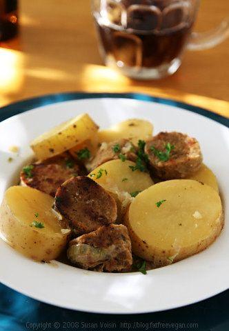 Dublin Coddle with Vegan Irish Sausage for St. Patrick's Day