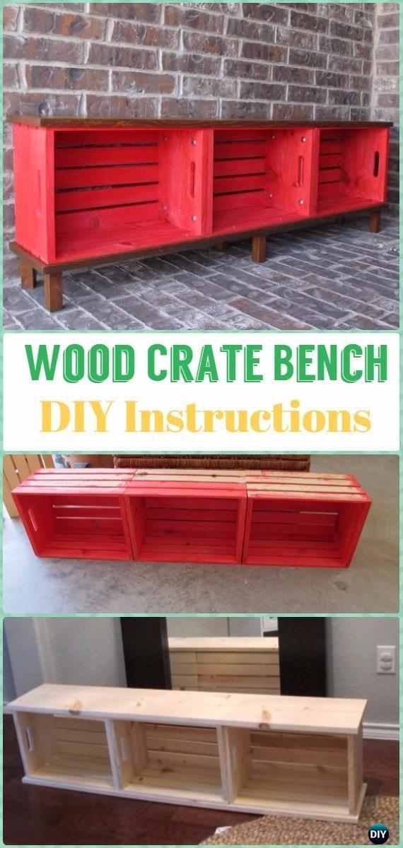 Diy Wood Crate Bench Instructions Diy Wood Crate Furniture Ideas Projects Wood Crate Furniture Crate Furniture Diy Wood Bench