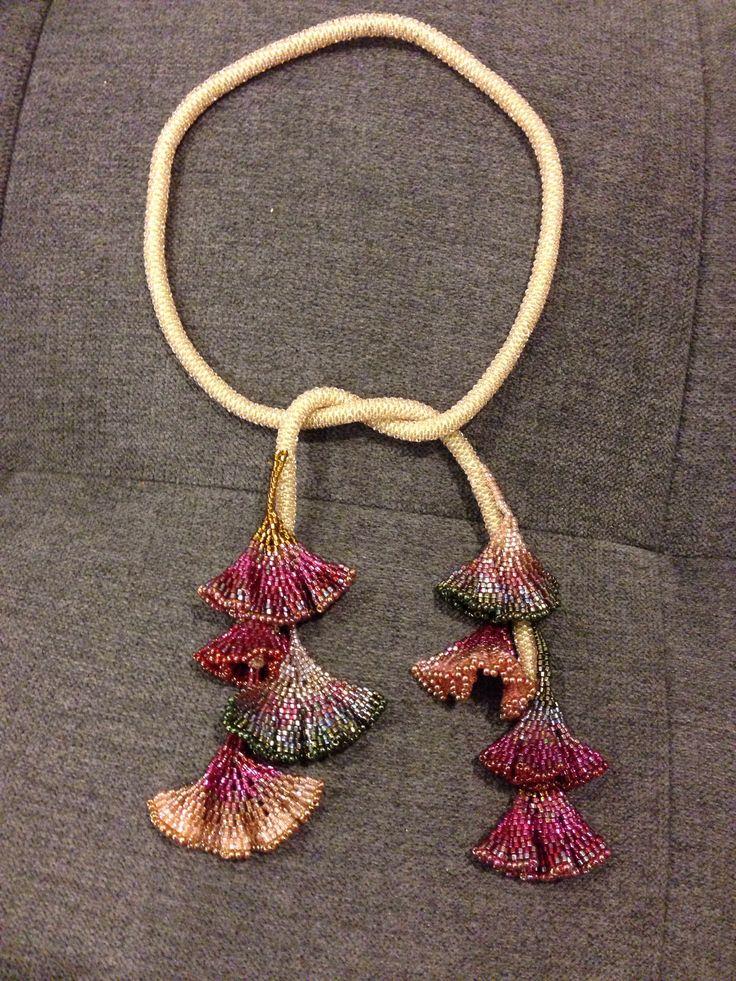 Shorter version of Diane Fitzgerald's Gingko Leaf Necklace.