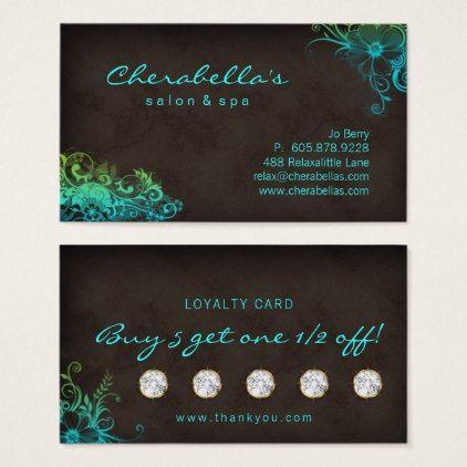 Beauty Salon Floral Loyalty Card Blue Green - elegant gifts gift ideas custom presents