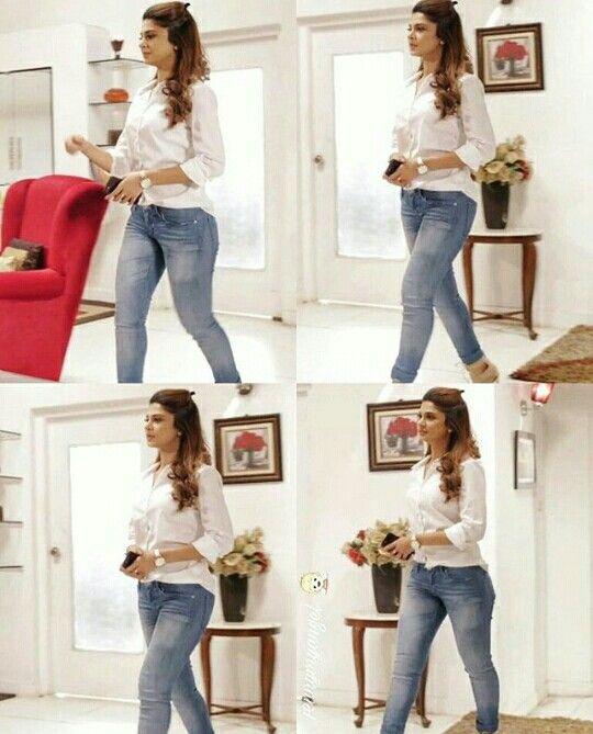 Jennifer Winget - denim and white shirt