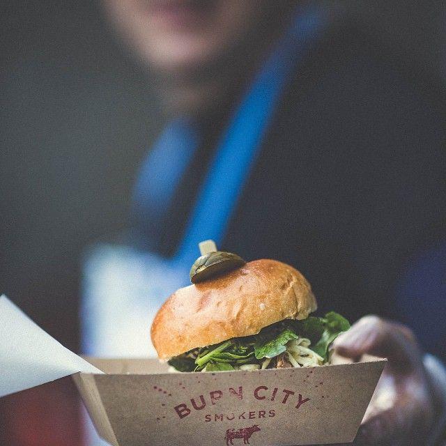 Pulled pork and green slaw sandwich. #burncitysmokers #pulledpork #bbq #bbqporn #foodporn #melbourne #melbournelife