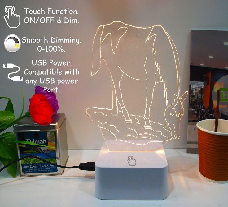 Cnhidee USB новинка сенсорный очаровательная лошадь 3D диммирования ночник , как творческий фестиваль подарки домашнего декора настольная лампа для друга