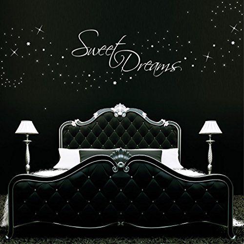 Elegant Wandtattoo Loft Schriftzug Sweet dreams und leuchtende Sterne als Punkte dargestellt