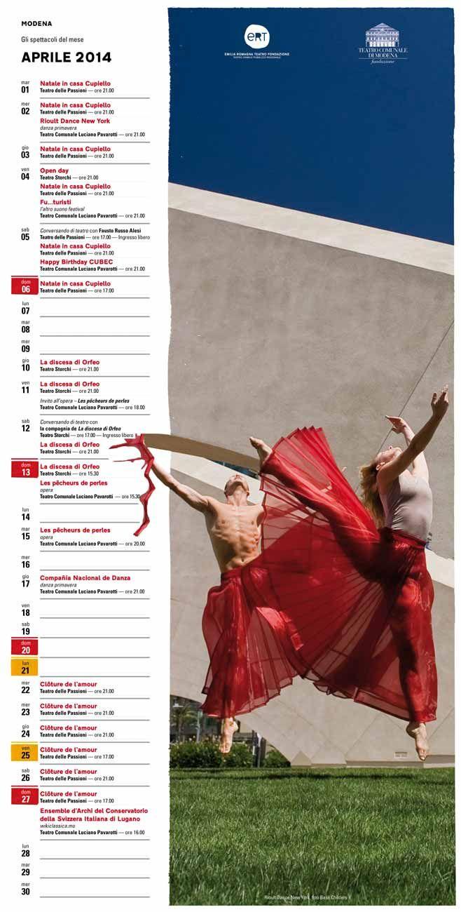 """Il """"calendario teatrale"""" di Modena è un pratico strumento mensile che unisce brevi schede di presentazione degli spettacoli a un poster-calendario da appendere, con tutti gli appuntamenti di Teatro Storchi, Teatro delle Passioni e Teatro Comunale Luciano Pavarotti. Per scaricarlo: http://www.emiliaromagnateatro.com/wp-content/uploads/2014/04/calendario-teatrale-di-modena-aprile-2014.pdf"""