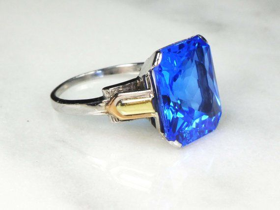 Vintage Gold Ring Blue Stone Ring Retro 14k White Gold Ring September Birthstone Rectangle Blue Glas Beautiful Rings Vintage Blue Stone Ring Vintage Gold Rings