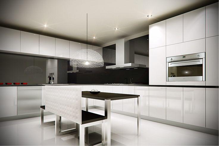 Cocina minimalista horno de gas y campana smeg cocinas for Cocinas integrales blancas