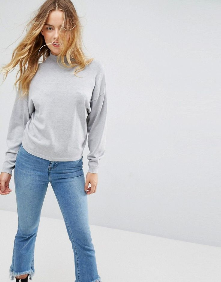 ASOS Sweater with High Neck and Batwing Sleeves - Beige