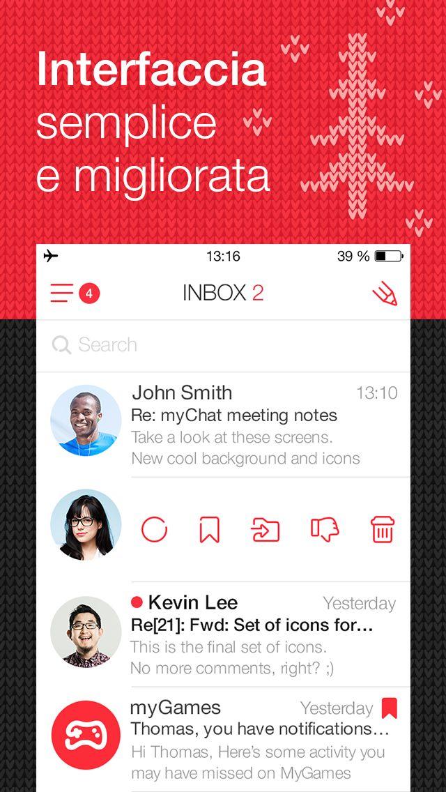myMail Winter Screens for AppStore: Italian / My.com  Design by My.com team — http://www.behance.net/mycom.