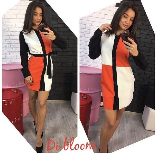 Женское платье-рубашка на пуговицах ровного кроя бело-оранжевое