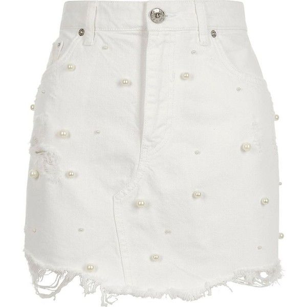River Island White faux pearl embellished denim mini skirt ($70) ❤ liked on Polyvore featuring skirts, mini skirts, white, women, denim miniskirt, white skirt, ripped denim skirt, short mini skirts and denim skirt