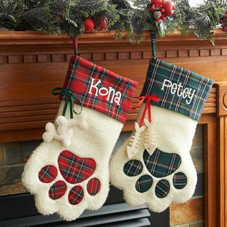 Personalized Dog Paw and Cat Paw Christmas Stockings, Red