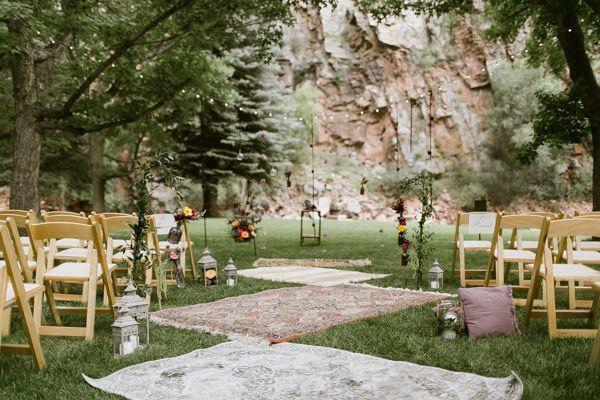 carpets for a boho outdoor ceremony