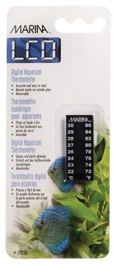 Termómetro Vertical Digital Aquarius MARINA - #FaunAnimal Grados centígrados y grados Fahrenheit (70º F = 21º C)  Abarca un rango de 22 a 30º C.   La temperatura del agua es un factor muy importante que afecta directamente en la salud de nuestro pez. El termómetro Aquarium vertical (4,45 cm de largo ) es preciso y fácil de leer.