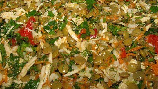 Tavuklu Yeşil Mercimek Salatası