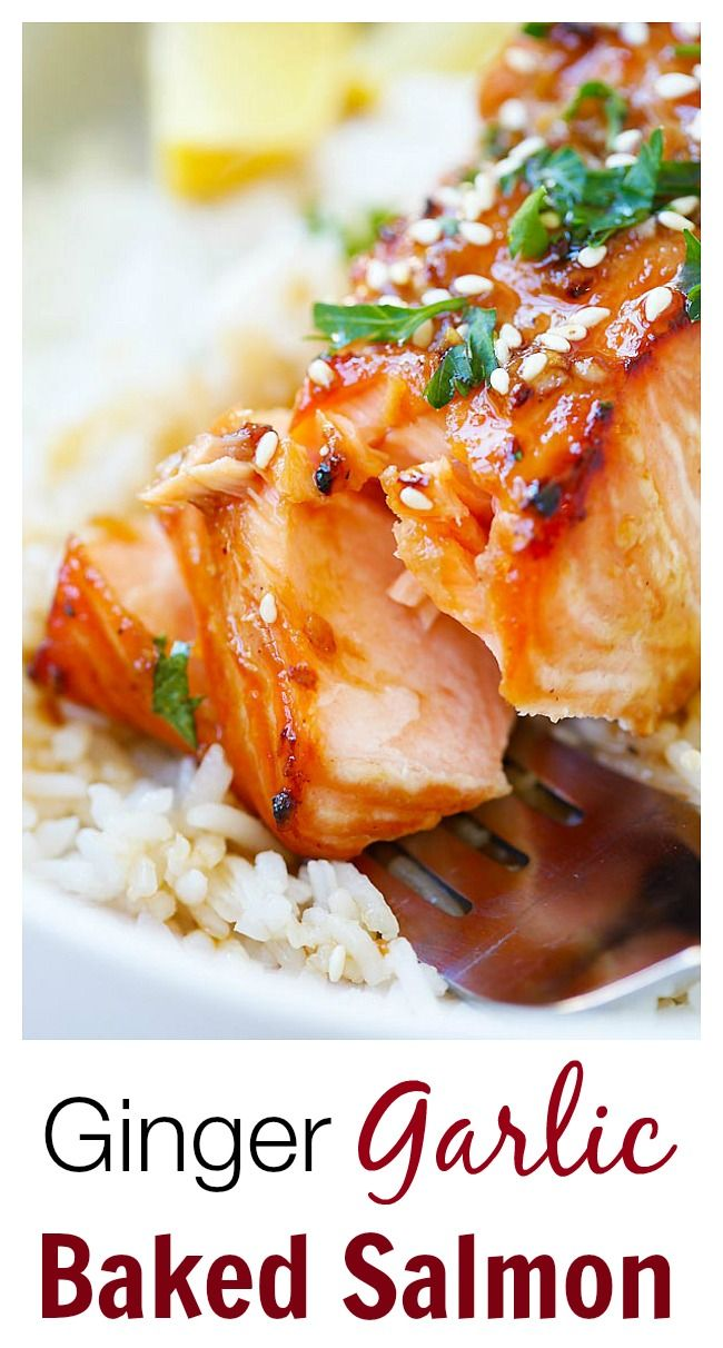 Ginger Garlic Baked Salmon – the best and easiest salmon recipe ever! Making this tonight!