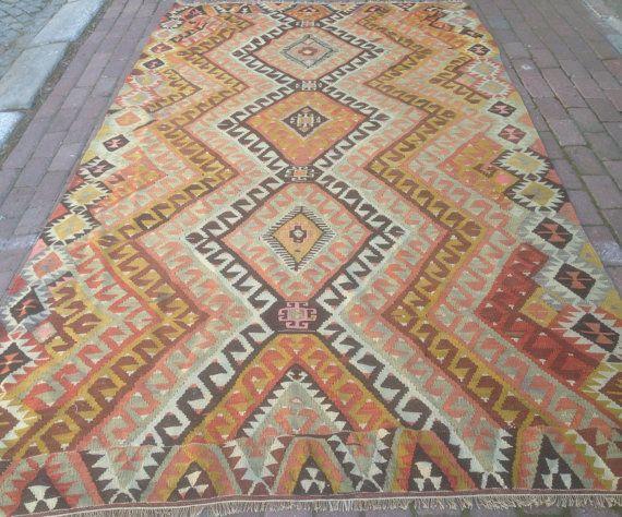 Turkish Kilim rug, Bohemian Rug, vintage rug, turkish Kilim, Turkish Rug, handwoven rugs, vintage kilim rug, Large Kilim Rug, Rugs 6x10
