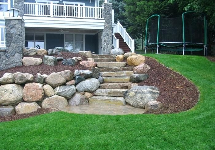 retaining wall steps boulder retaining wall with limestone