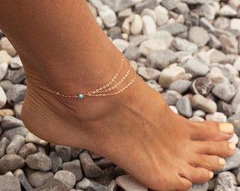 Layered Anklet, Turquoise anklet, Rose Gold Anklet