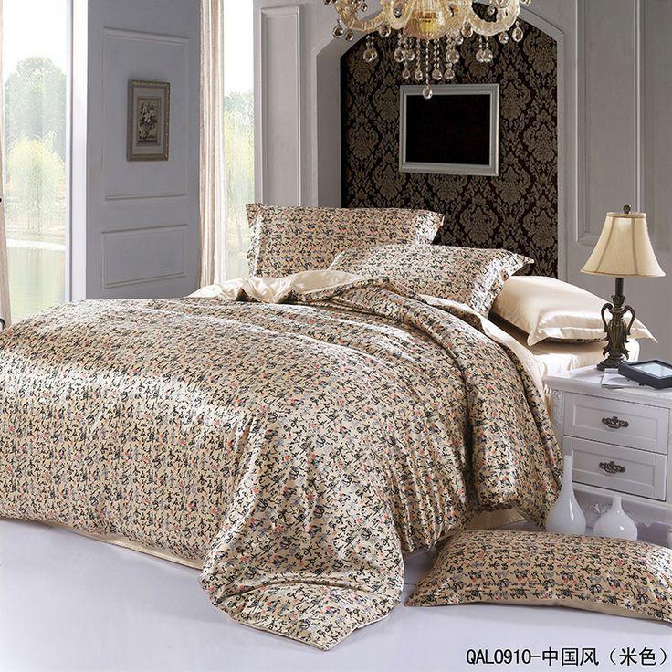 Chinese Calligraphy Beige Silk Bedding Modern Bedding