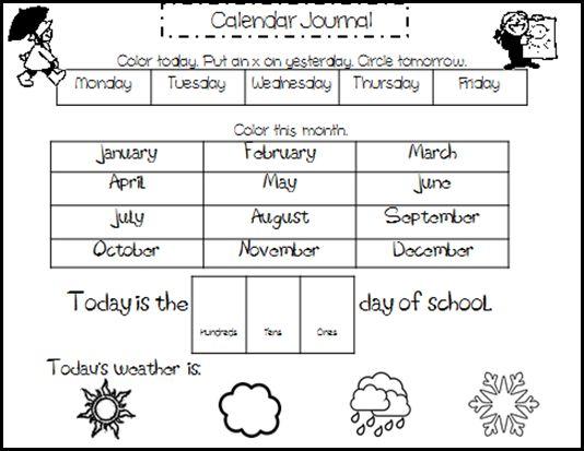 Kreative in Kindergarten- Calendar Journal with different levels