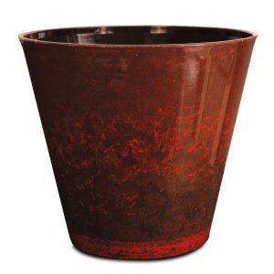 Listo CeramaStone Resin Pottery Planter, 8-Inch, Fireball Red with Gloss