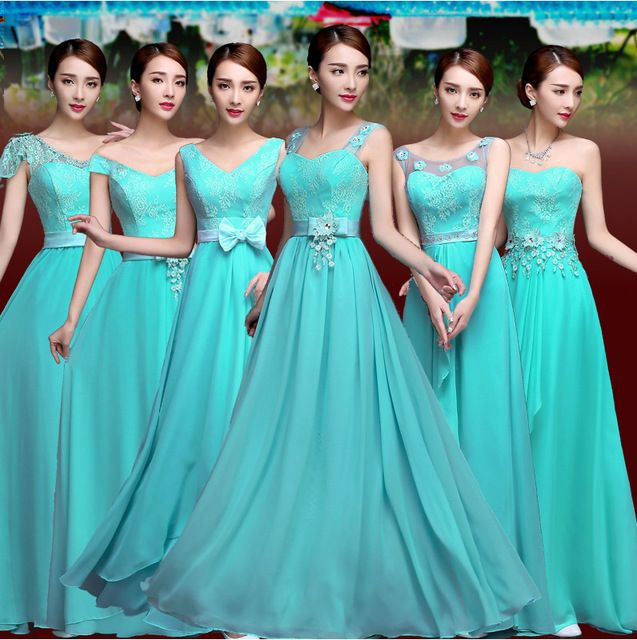 Vestido De Festa Turquoise Bridesmaid Dress Chiffon Two Tone Turquoise Blue Bridesmaid Dresses Prom Gown Vestidos De Novia Cheap