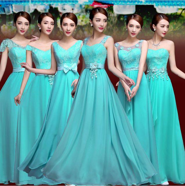 Vestido De Festa Turquesa Da Dama de Honra Vestido de Chiffon Dois Tons de Azul Turquesa Vestidos Dama de honra do baile de Finalistas do Vestido Vestidos De Novia Barato