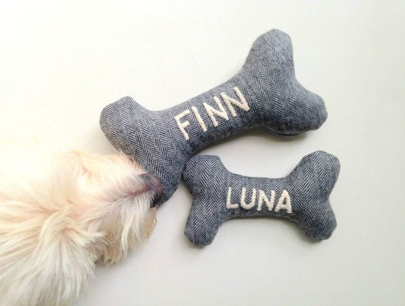 Custom Dog Toy - Personalized with Embroidered Name - Durable Dog Toys - Squeaky Toy - Personalized Pet Gifts
