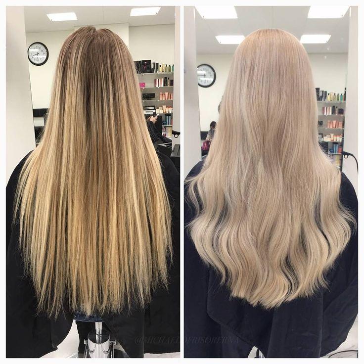 Här använder vi loreals ljusfärg då kunden inte ville vara slingad. Resultatet blir en jämn och krämig blond färg 👏 #loreal #nohighlights #goldblonde #kerastase #fusiodose