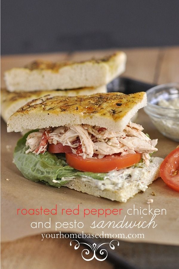 roasted red pepper chicken and pesto sandwich www.yourhomebased...  #chicken,  #crockpot,  #recipes