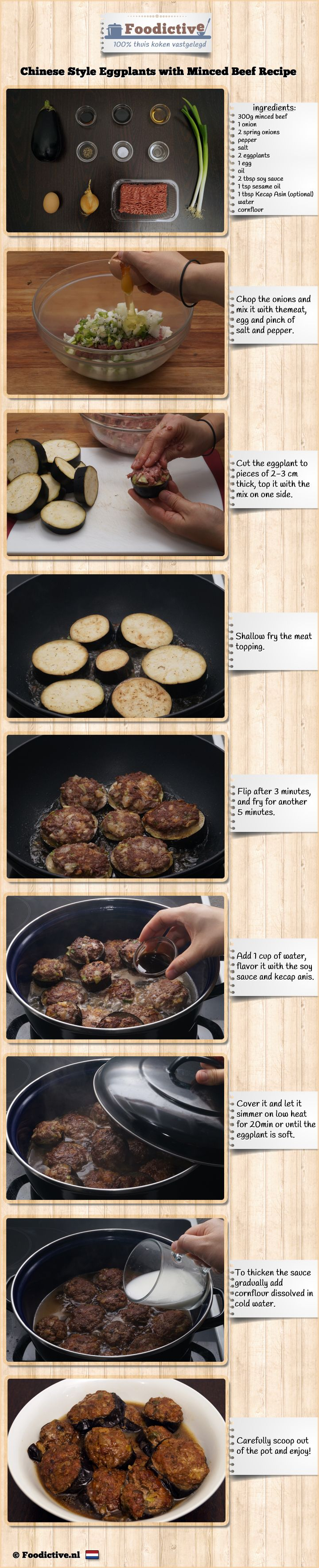 Chinese style eggplants with minced beef - An alternative way of sharing a recipe, inspired by the food infographics. #cooking #recipe
