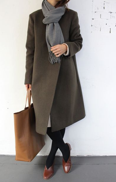 cute loafers, tan bag, and moss wool coat