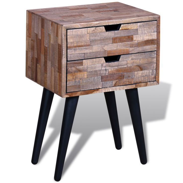 Bedside Cabinet with 2 Drawers Reclaimed Teak