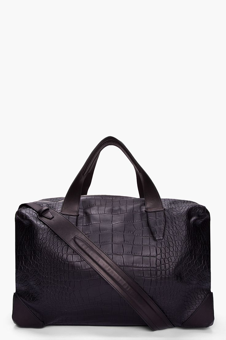 ALEXANDER WANG Oversize Black Croc Embossed Leather Wallie Duffle Bag