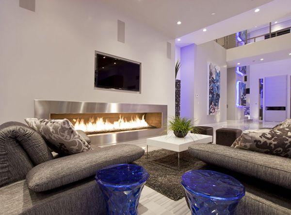 Sala Marron De Lujo Buscar Con Google Salones De Diseno Chimeneas Modernas Decoracion De Interiores