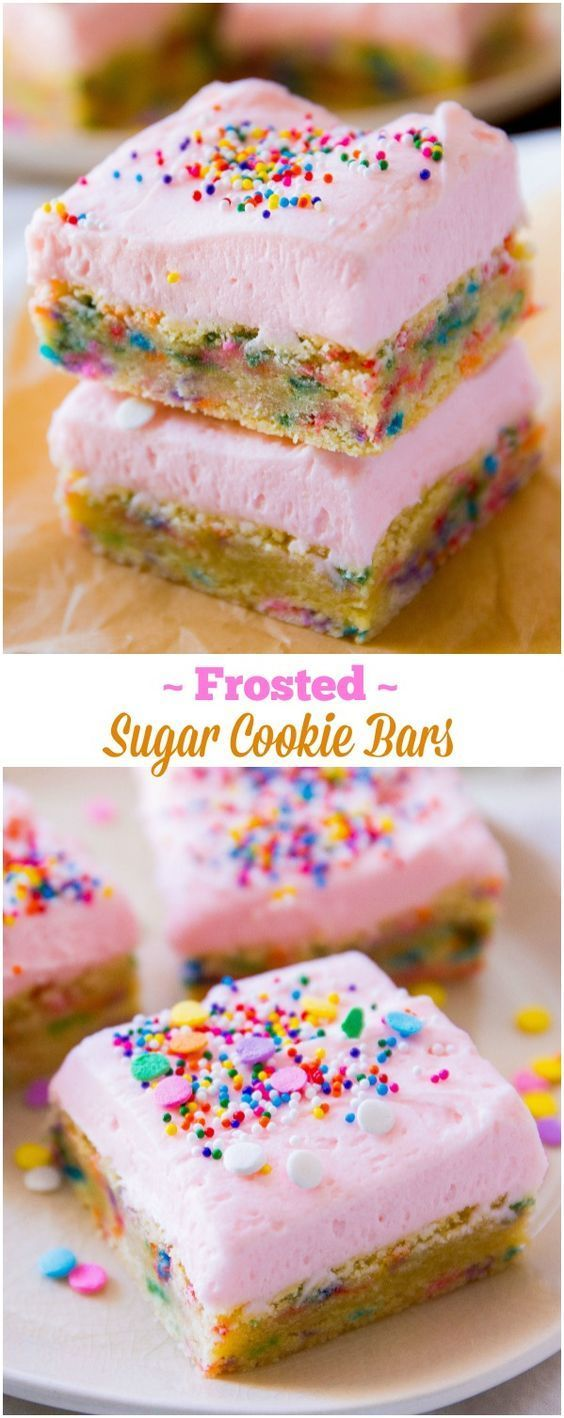 Frosted Sugar Cookie Bars: soft and chewy sugar cookie bars loaded with extra sprinkles and topped with thick vanilla frosting. The most fun dessert you will ever make!