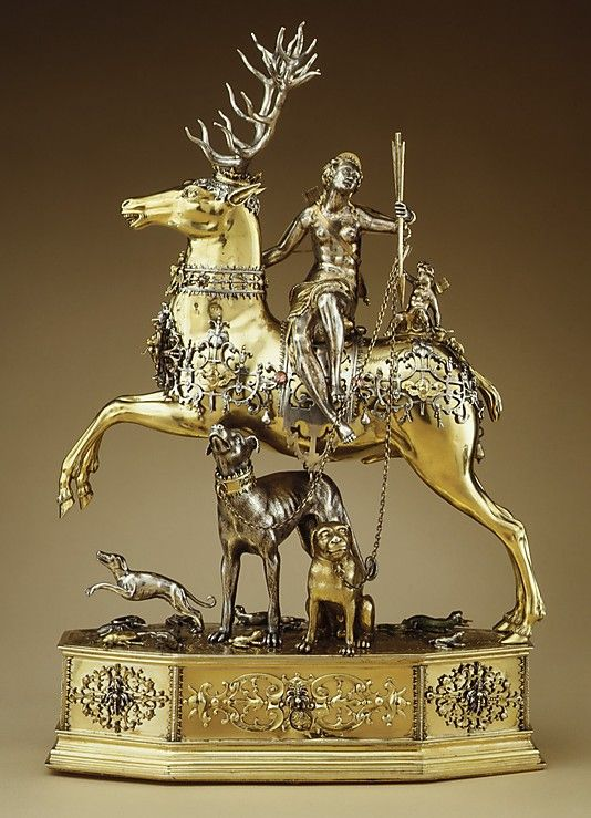 Joachim Friess, Diana and the Stag, automaton, silver, silver gilt, jewels & enamel, c.1620, Metropolitan Museum of Art