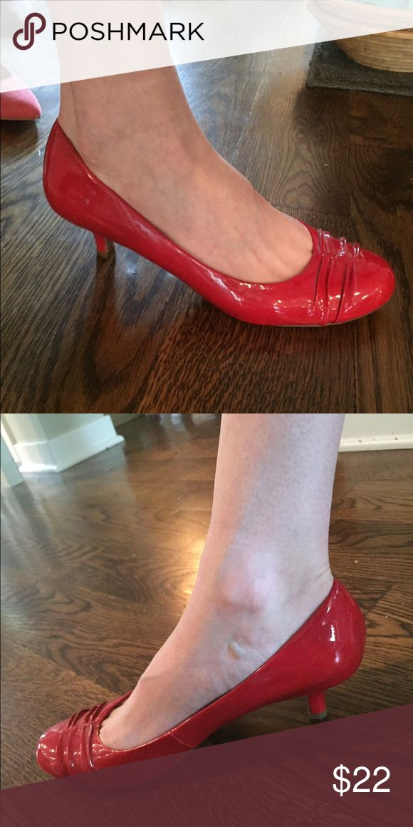 Patent leather kitten heel Red patent leather kitten heels worn once Shoes Heels