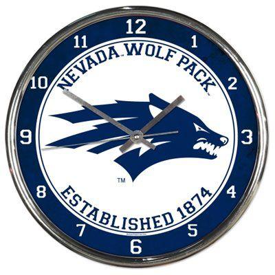 Nevada Wolf Pack 12'' Round Wall Chrome Clock