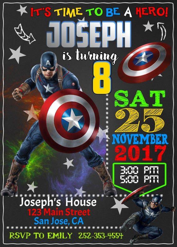 Invitación Capitán América Vengadores Superhéroe Capitán
